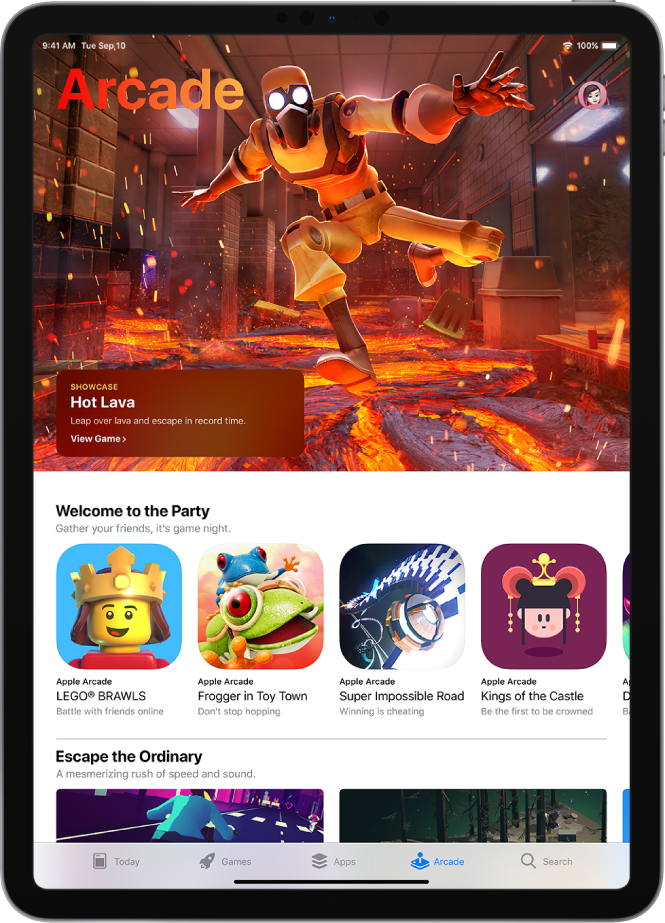 The Arcade screen of the App Store showing a featured game and other recommendations. Your profile picture, which you tap to view purchases and manage subscriptions, is in the top right. Along the bottom, from left to right, are the Today, Games, Apps, Arcade, and Search tabs.
