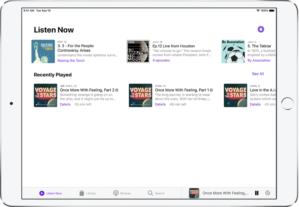 The Library tab showing recently updated episodes.