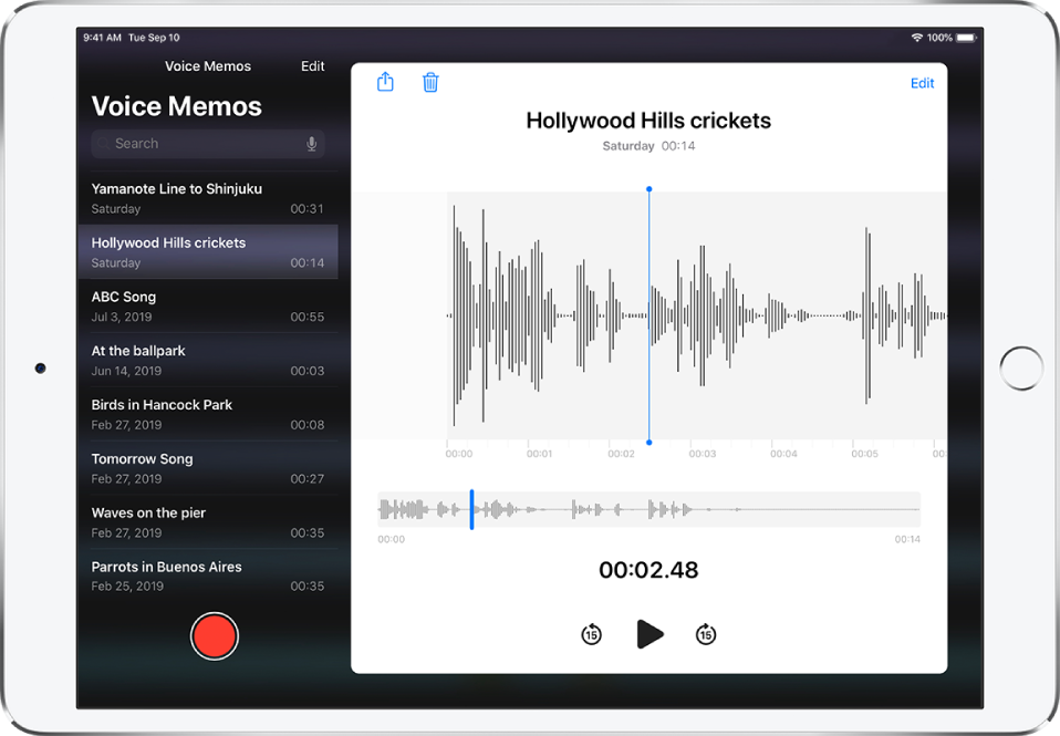 The Voice Memos list with a selected recording at the top. It has a playhead, and a timeline below the waveform. Above are the Share, Delete, Edit, and Trim buttons. Below the timeline are the buttons to skip back 15 seconds, play, and skip forward 15 seconds. At the left is a list of more recordings that can be opened with a tap.