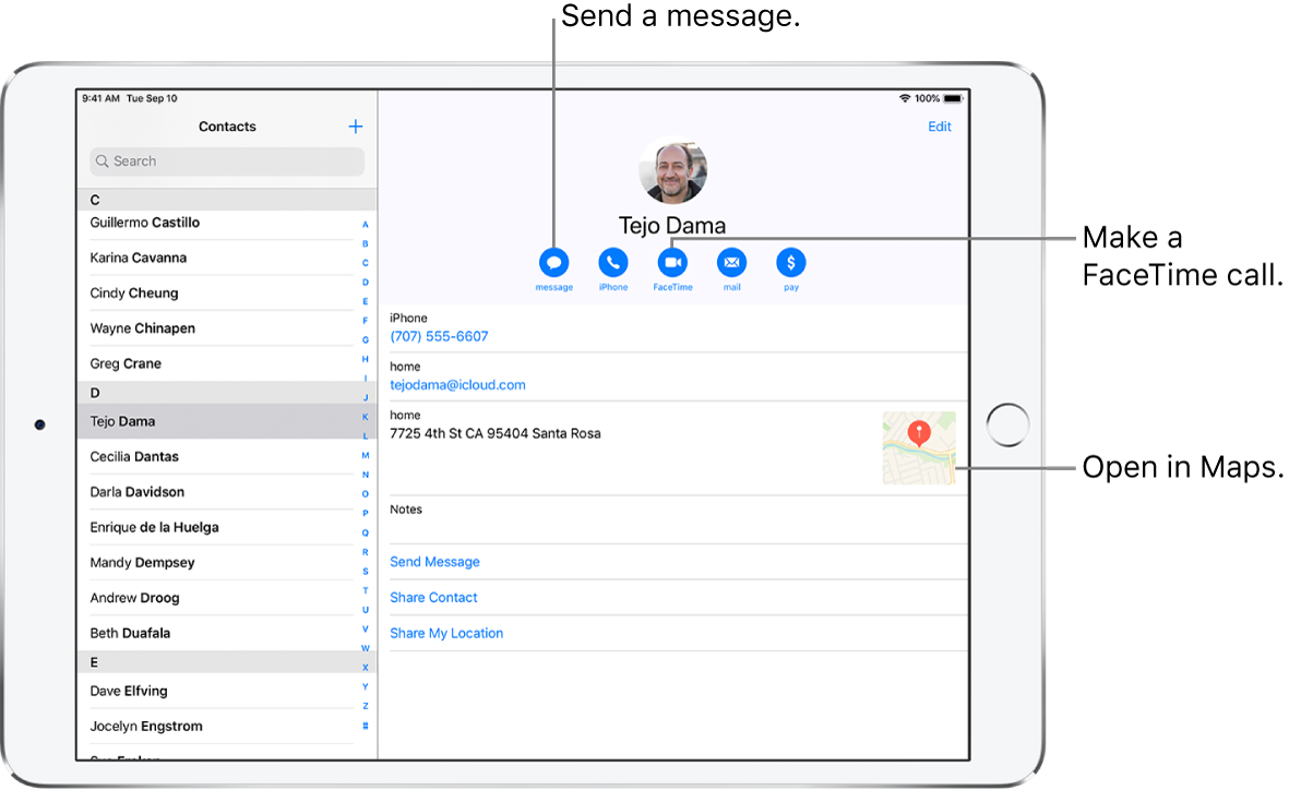 The Contacts screen, with the Contacts list on the left and the selected contact card on the right. Below the contact's photo and name are buttons for sending a message, making a phone call, making a FaceTime call, sending an email message, and sending money with Apple Pay. Below the buttons is the contact information.