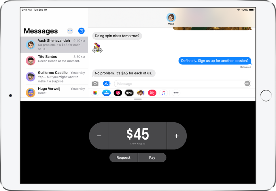 An iMessage conversation with the ApplePay app open at the bottom.