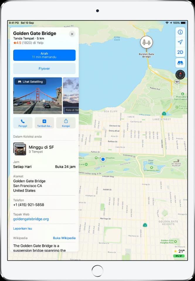Peta yang menunjukkan lokasi restoran. Kad maklumat di sebelah kiri skrin menyertakan beberapa butang, termasuk butang untuk membuat tempahan, mendapatkan arah dan membuat panggilan telefon. Kad maklumat juga menyenaraikan maklumat seperti waktu operasi, alamat dan tapak web.