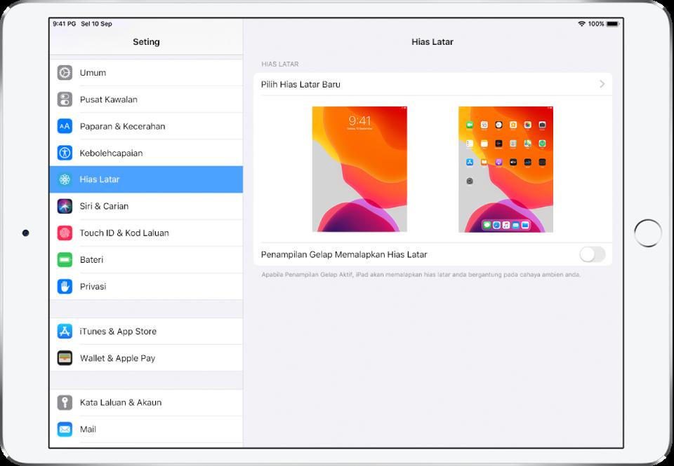 Skrin seting hias latar, dengan butang untuk memilih hias latar baru di bahagian atas dan imej skrin Kunci dan skrin Utama dengan hias latar semasa.