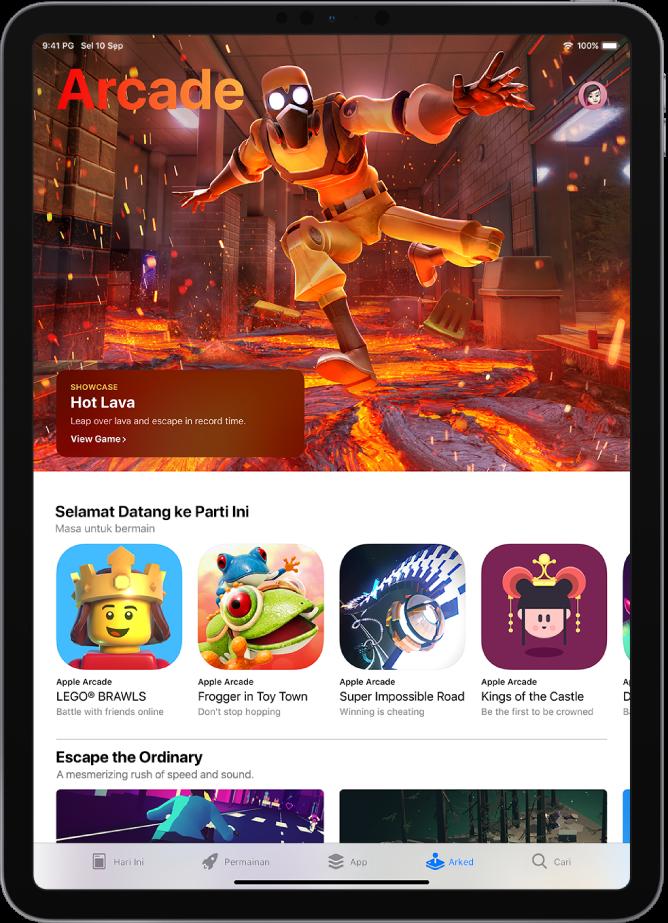 Skrin Arked pada App Store menunjukkan permainan ditampilkan dan pengesyoran lain. Gambar profil anda yang anda ketik untuk melihat pembelian dan mengurus langganan terletak di sebelah kanan atas. Di sepanjang bahagian bawah, dari kiri ke kanan, terdapat tab Hari Ini, Permainan, App, Arked dan Cari.