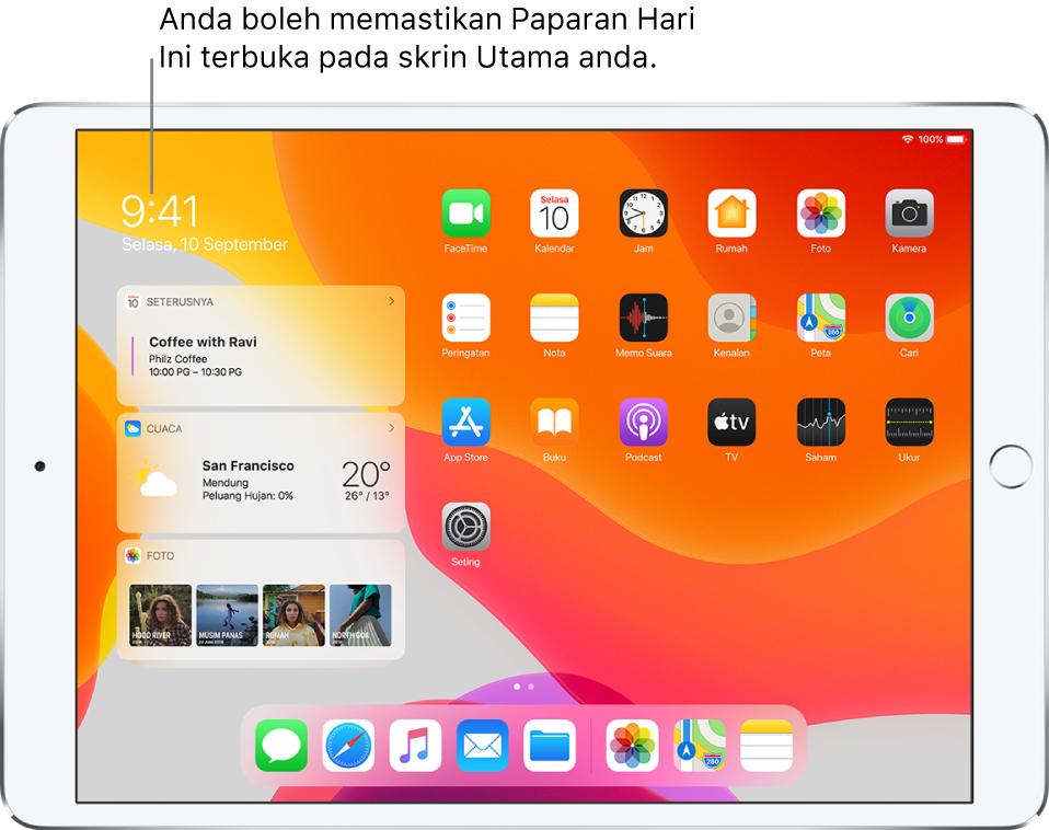Skrin Utama dengan widget Paparan Hari Ini—termasuk widget Seterusnya, Cuaca dan Foto—dipinkan pada skrin Utama bersebelahan ikon app.