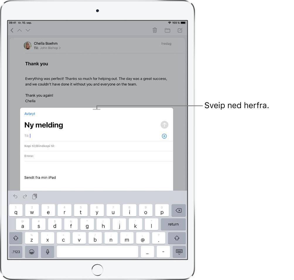 Et e-postutkast foran en mottatt e-post, med bildetekst som viser hvordan du drar utkastet for å flytte det ut av veien for den andre e-posten.