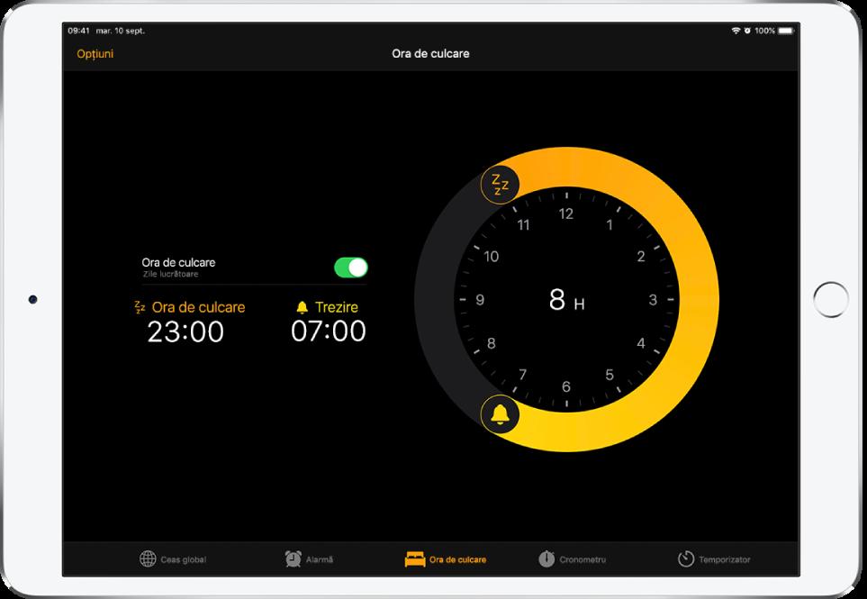 Ecranul Ora de culcare, afișând un program ora de culcare care începe la 11 p.m. și cu ora de trezire la 7 a.m. și butonul Opțiuni în stânga sus.