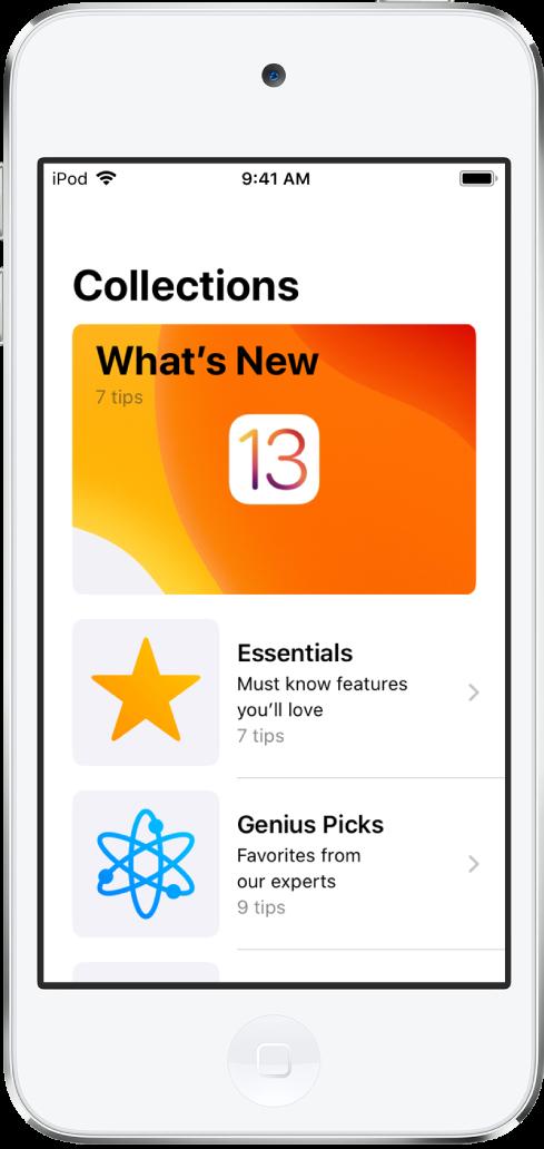 Ein Bildschirm mit einer Sammlung von Tipps. Die Rechtspfeile deuten darauf hin, dass du durch Tippen auf eine Sammlung die darin enthaltenen Tipps anzeigen kannst.