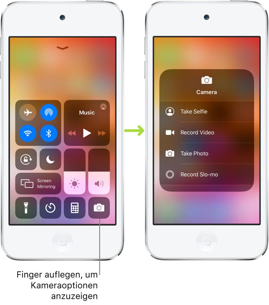 """Zwei Bildschirme mit dem geöffneten Kontrollzentrum nebeneinander: Auf dem Bildschirm links sind in der oberen linken Gruppe die Steuerelemente """"Flugmodus"""", """"Mobile Daten"""", """"WLAN"""" und """"Bluetooth"""" zu sehen. Außerdem ist der Hinweis zu sehen, dass durch Auflegen des Fingers auf das Symbol """"Kamera"""" unten rechts Optionen für die Kamera eingeblendet werden können. Auf dem Bildschirm rechts sind diese zusätzlichen Optionen für die Kamera zu sehen: """"Selfie aufnehmen"""", """"Video aufnehmen"""", """"Foto aufnehmen"""" und """"Slo-Mo aufnehmen""""."""