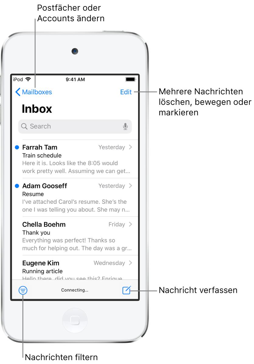 """Der Posteingang mit einer Liste von E-Mail-Nachrichten. In der Ecke oben links befindet sich die Taste """"Postfächer"""" für den Wechsel zu einem anderen Postfach. In der Ecke oben rechts befindet sich die Taste """"Bearbeiten"""" zum Löschen, Bewegen und Markieren von E-Mails. In der Ecke unten links befindet sich die Taste zum Filtern von E-Mails, sodass nur bestimmte E-Mails angezeigt werden. In der Ecke unten rechts befindet sich die Taste zum Erstellen einer neuen E-Mail."""