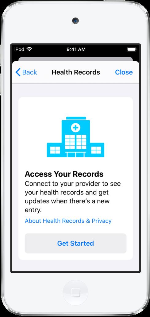 """Der Bildschirm """"Los geht's"""", in dem du das Laden von Gesundheitseinträgen einrichten kannst."""