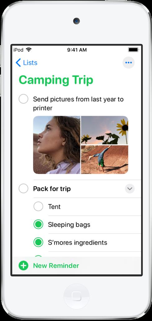 """Ein Bildschirm der App """"Erinnerungen"""" mit einer Erinnerungsliste. Links unter der Liste ist die Taste """"Hinzufügen"""" zu sehen."""