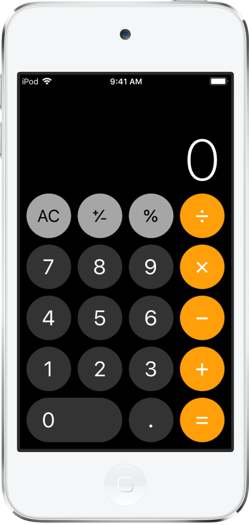 Der Standardtaschenrechner mit den grundlegenden Rechenfunktionen.