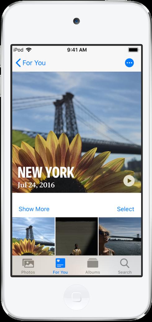 """Ein Bildschirm """"Rückblicke"""" mit einem Video oben. Unter dem Video wird eine Sammlung von Fotos angezeigt."""