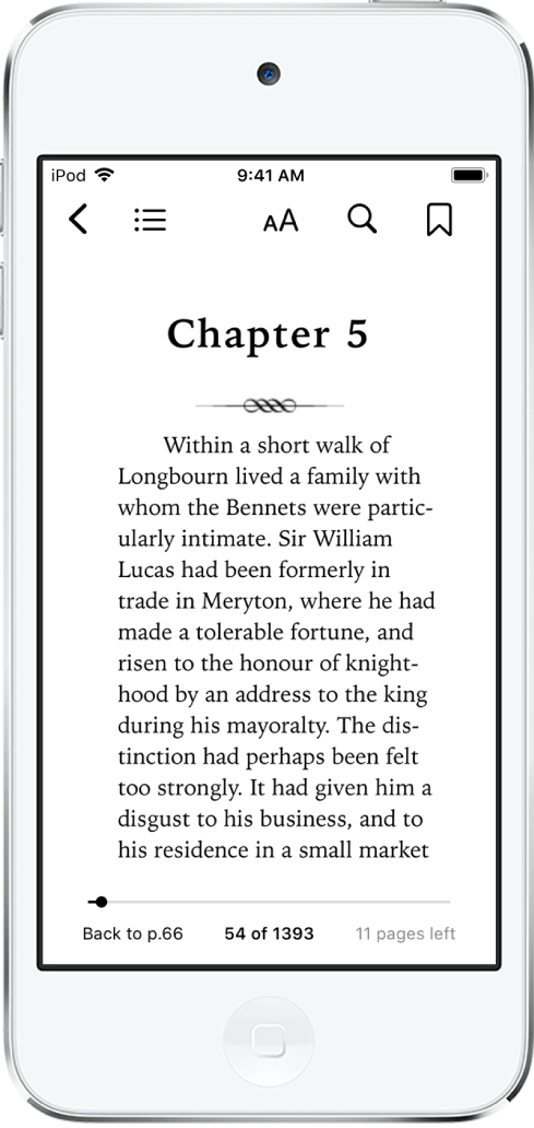 The page of a book open in the Books app with buttons at the top of the screen, from left to right, for closing the book, viewing the table of contents, changing the text, searching, and bookmarking. There's a slider at the bottom of the screen.