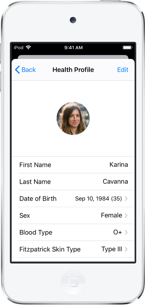 The Health Profile screen for a 35-year old female with O+ blood type.