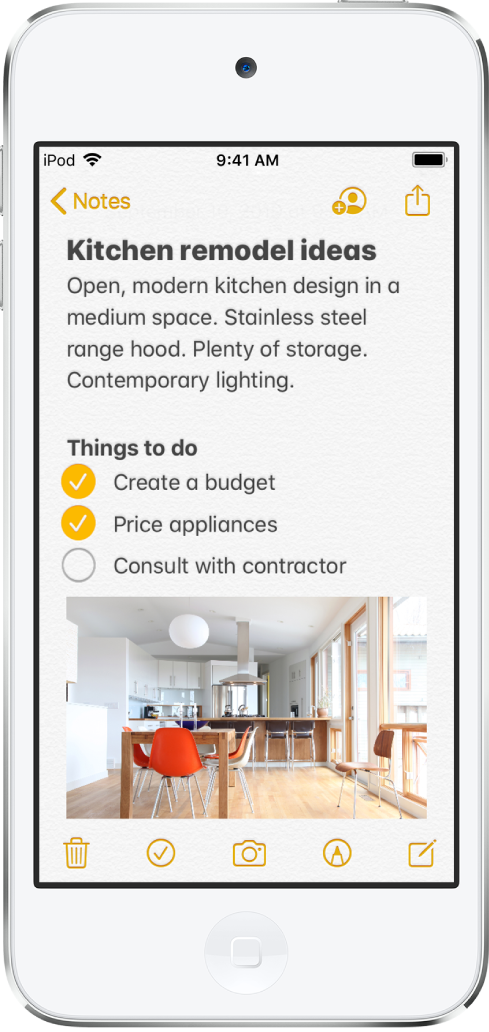 A note showing text for kitchen remodeling ideas and a to-do checklist. There are buttons to collaborate with other people on the note and to share the note. There are buttons at the bottom to delete the note, add a checklist, add a photo or scan a document, show handwriting tools, and create a new note.