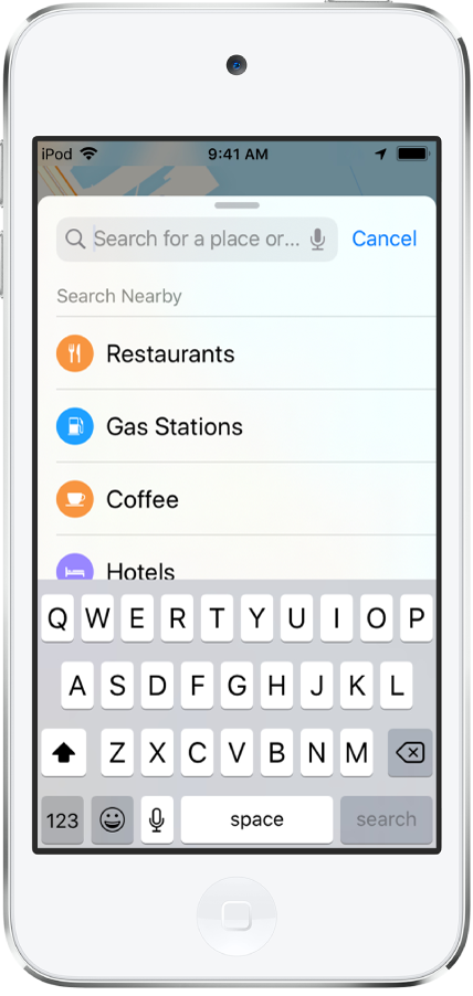 A list showing four services appears below the search field. The services are Restaurants, Gas Stations, Coffee, and Hotels.