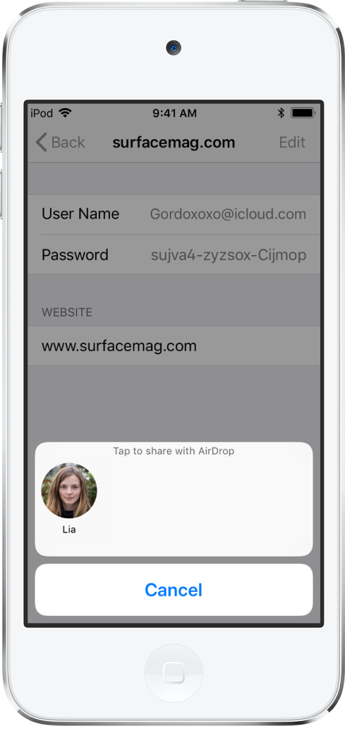 "The account screen for a website. At the bottom of the screen, a button shows a picture of Lia under the instruction ""Tap to share with AirDrop."""