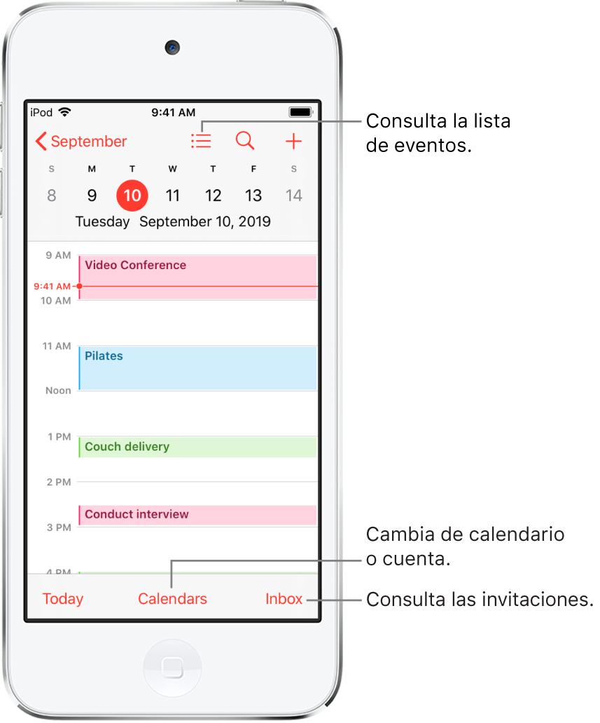 Calendario en la visualización diaria con los eventos del día. Pulsa el botón Calendarios de la parte inferior de la pantalla para cambiar las cuentas de calendarios. Pulsa el botón Entrada situado en la parte inferior derecha para ver las invitaciones.