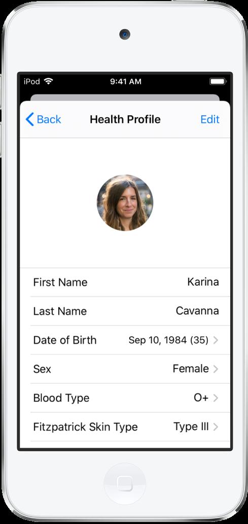 Écran Profil Santé pour une femme de 35ans avec un groupe sanguin O+.