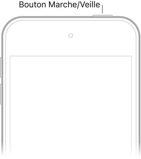 La face avant de l'iPodtouch avec le bouton Marche/Veille sur le bord supérieur droit.