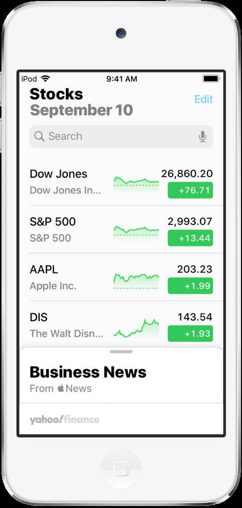 Une liste de suivi avec une liste de diverses actions. Chaque action de la liste affiche, de gauche à droite, le symbole et le nom de l'action, un graphique des performances, le cours de l'action et les évolutions du cours. En haut de l'écran, au-dessus de la liste de suivi, se trouve le champ de recherche. Sous la liste de suivi se trouve BusinessNews. Balayez BusinessNews vers le haut pour afficher des articles.