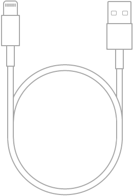 Le câble Lightning vers USB fourni avec l'iPodtouch.