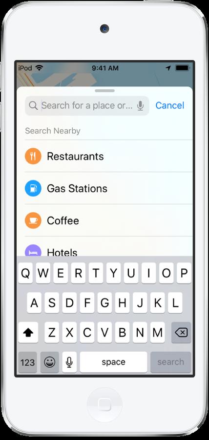 Une liste présentant quatre services s'affiche en dessous du champ de recherche. Ces services sont les suivants: Restaurants, Stations-service, Cafés et Hôtels.