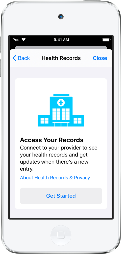 L'écran Démarrer pour la configuration du téléchargement des dossiers médicaux.