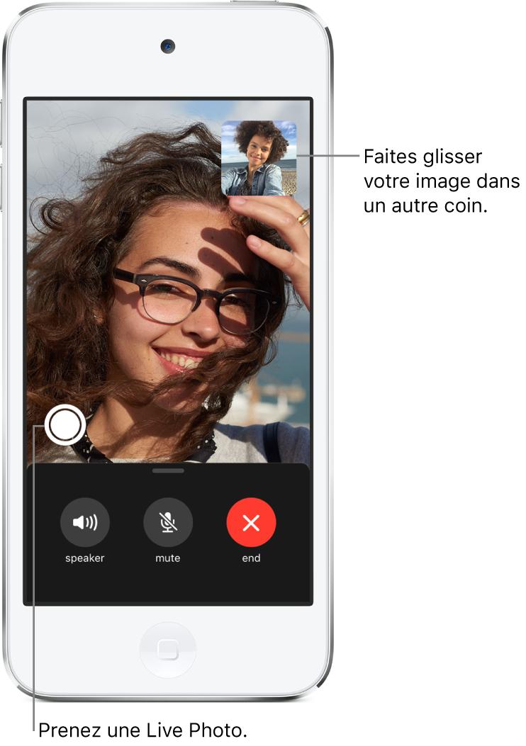 L'écran FaceTime montrant un appel en cours. Votre photo apparaît dans un petit rectangle dans le coin supérieur droit, et celle de l'autre personne occupe le reste de l'écran. En bas de l'écran se trouvent les boutons Haut-parleur, Couper le son et Fin.