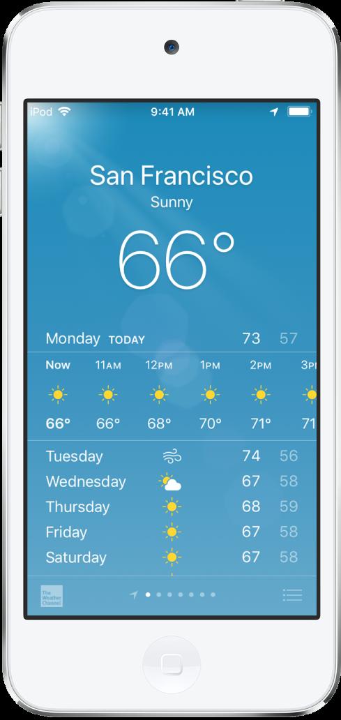 도시, 현재 날씨 및 현재 기온이 표시된 날씨 화면. 아래에는 현재 시간 단위의 일기 예보와 5일간의 일기 예보가 있습니다. 중앙 하단에 있는 점이 있는 열은 보유한 도시의 수를 표시합니다.