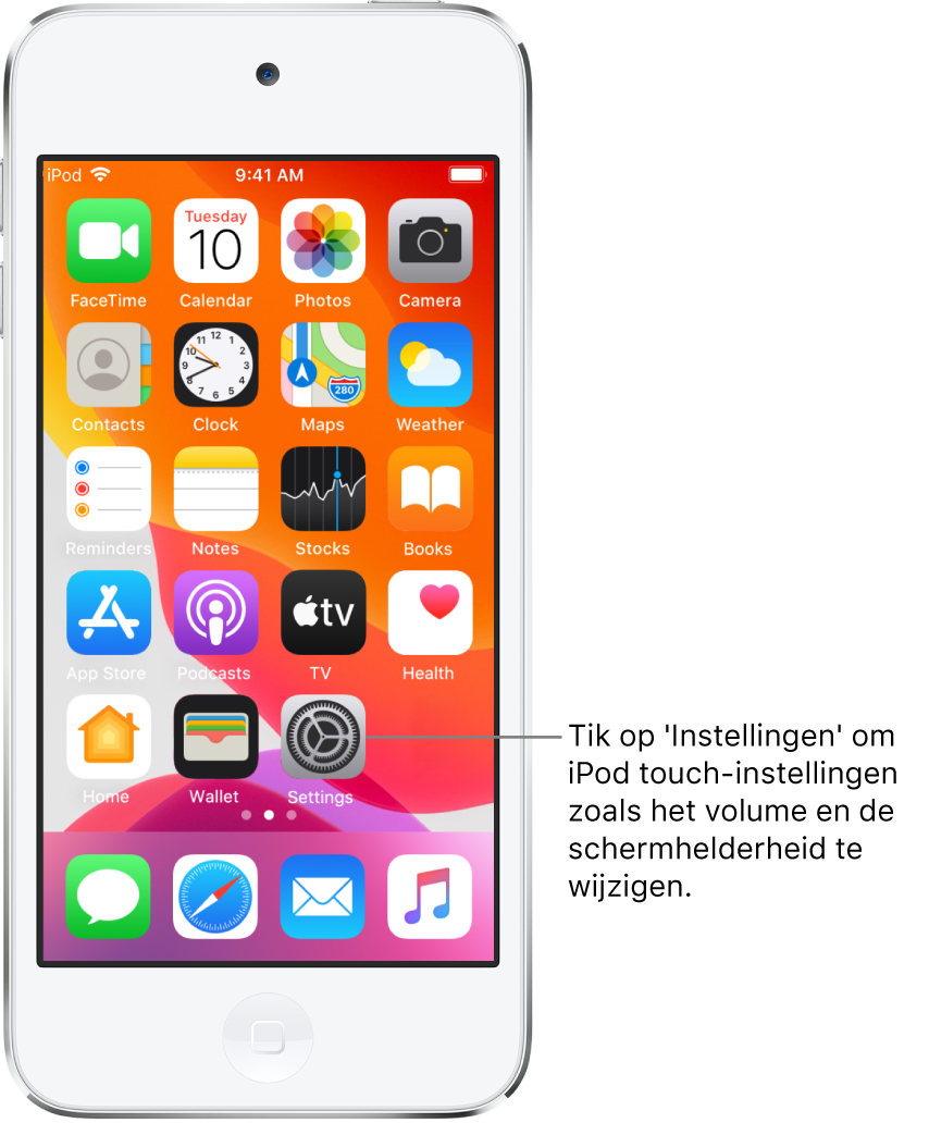 Het beginscherm met diverse symbolen, zoals het Instellingen-symbool, waarop je kunt tikken om het volume, de schermhelderheid en andere iPodtouch-instellingen te wijzigen.