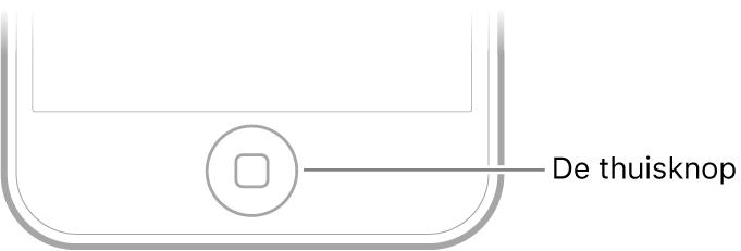 De thuisknop bevindt zich aan de onderkant van de iPodtouch.