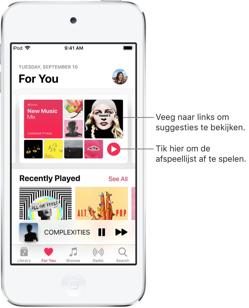 Het scherm 'Voor jou' met bovenaan de afspeellijst 'Nieuwe muziekmix'. Rechts onder in de afspeellijst staat een afspeelknop. Daaronder staat het gedeelte 'Pas afgespeeld' met twee albumhoezen.