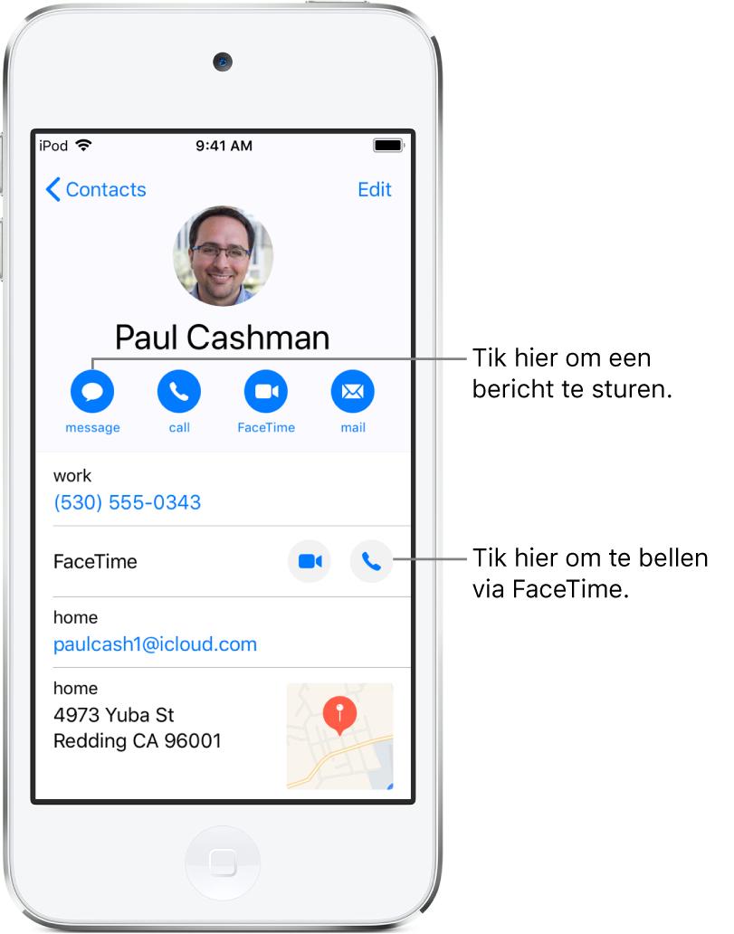 Het informatiescherm voor een contactpersoon. Bovenin staan de naam en foto van de contactpersoon. Daaronder staan knoppen voor het versturen van een bericht, bellen met de telefoon, bellen met FaceTime en het versturen van een e-mail. Onder de knoppen vind je de contactgegevens.