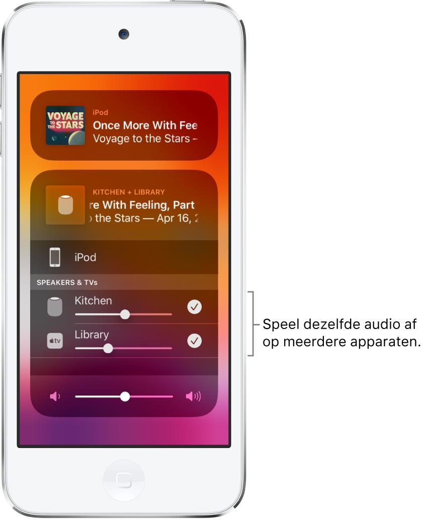 Het iPodtouch-scherm met de HomePod en AppleTV geselecteerd als audiobestemming.