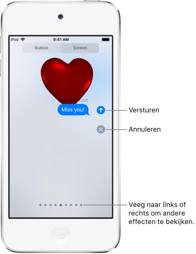 Een voorvertoning van een bericht met een schermvullend effect met een rood hart.