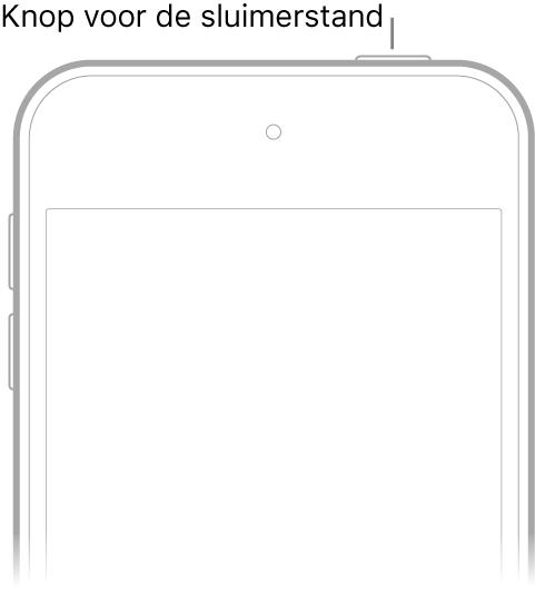 De voorkant van de iPodtouch met de sluimerknop.