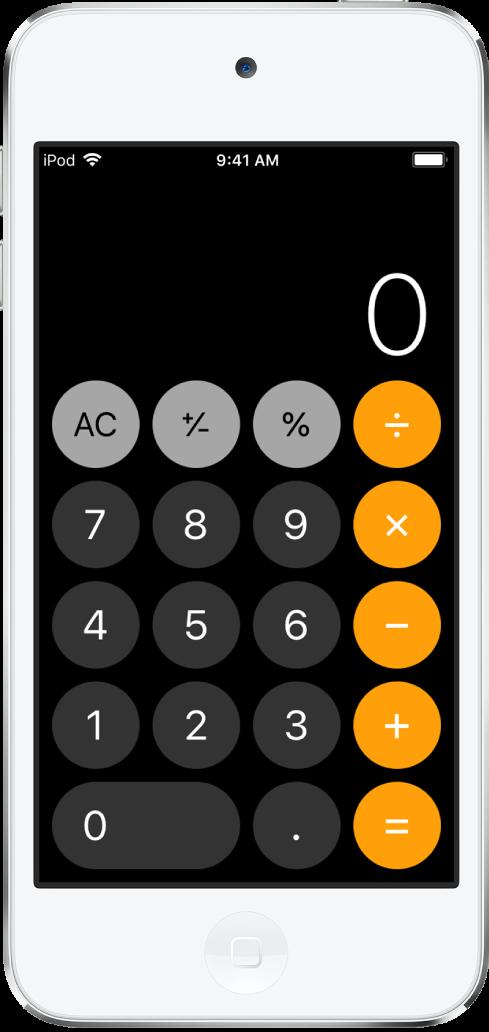 De standaardrekenmachine met eenvoudige rekenfuncties.