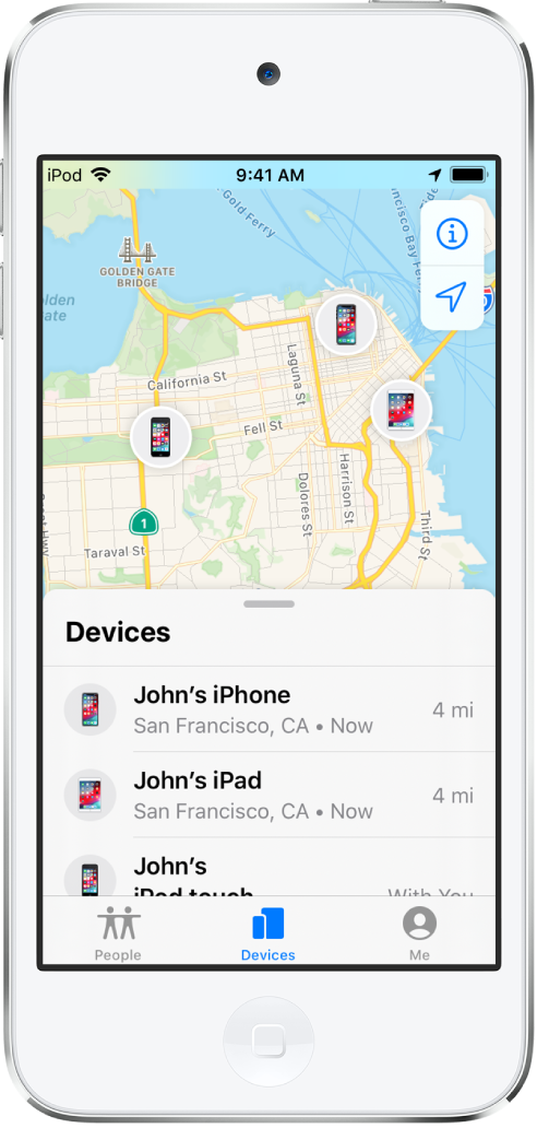 Er staan drie apparaten in de lijst 'Apparaten': Johns iPhone, Johns iPad en Johns iPodtouch. Hun locaties worden op een kaart van San Francisco weergegeven.