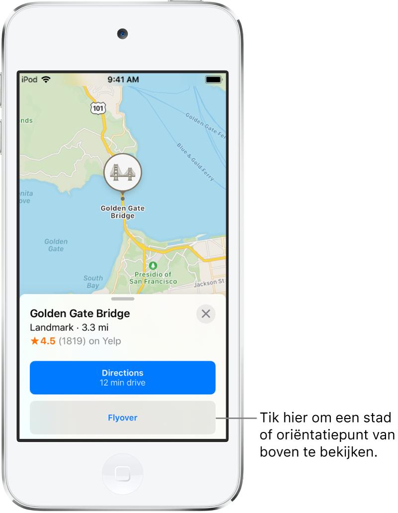 Een informatiekaart van de Golden Gate Bridge met de knop 'Flyover' links van de knop 'Route'.