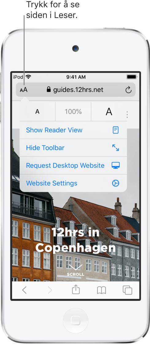 Adressefeltet i Safari, med Leser-knappen til venstre.