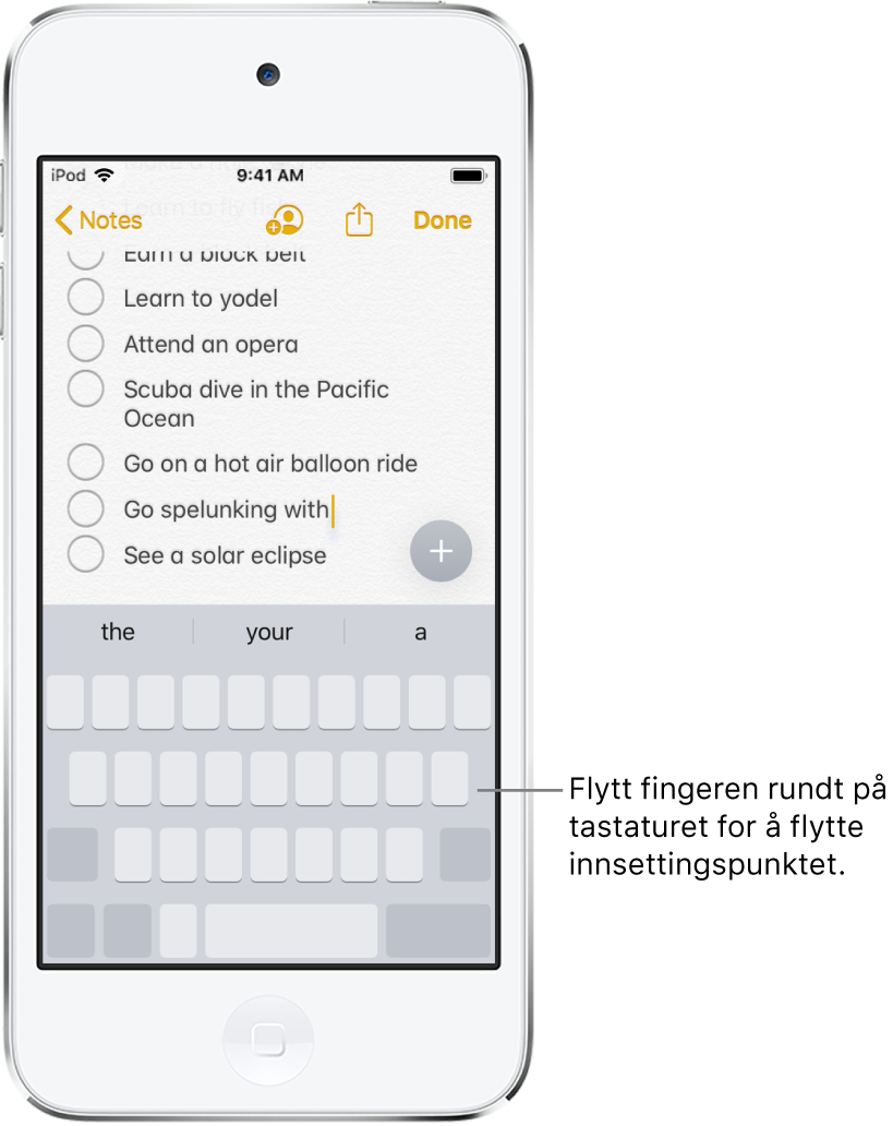 Et notat som redigeres etter at tastaturet er gjort om til en styreflate. Tastaturet er nedtonet for å vise at det nå også fungerer som en styreflate.