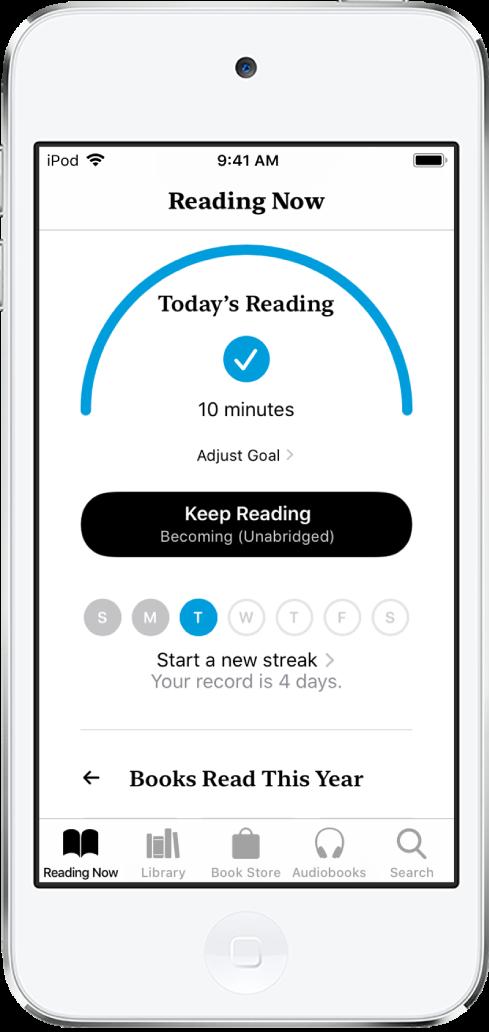 Lesemål-delen i Leses nå. Lesetelleren viser at 6minutter av et 10-minutters mål er fullført. Under telleren er en Fortsett å lese-knapp og sirkler som viser ukedagene fra søndag til lørdag. Sirkelen for tirsdag har en blå kantlinje som viser fremgangen for den dagen.