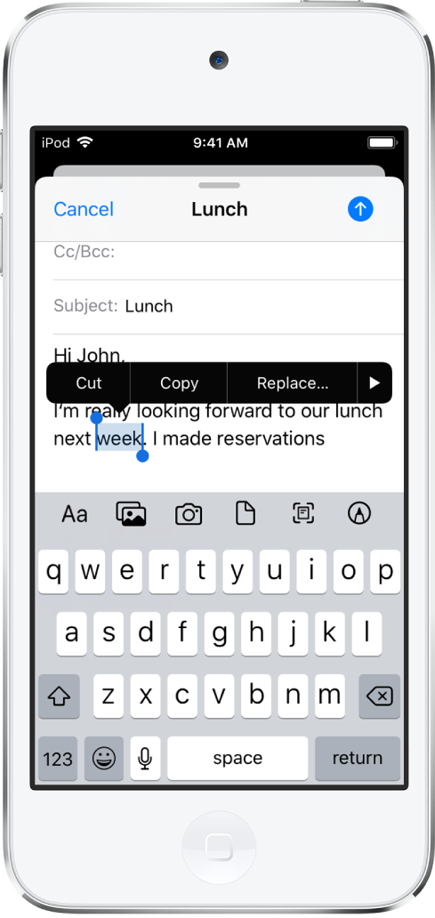 Et eksempel på en e-postmelding med noe av teksten markert. Over markeringen vises knappene Klipp ut, Kopier, Lim inn og Vis mer. Den markerte teksten er markert og har håndtak i hver ende.