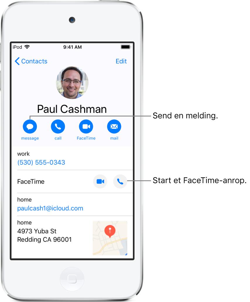 Infoskjermen for en kontakt. Kontaktens bilde og navn er øverst. Under finnes knapper for å sende en melding, starte et telefonanrop, starte et FaceTime-anrop og sende en e-postmelding. Under knappene er kontaktinformasjonen.
