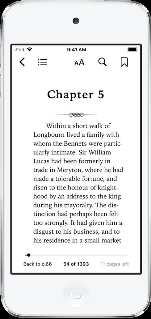 Página de um livro aberto no app Livros com botões na parte superior da tela, da direita para a esquerda na parte superior da tela, para fechar o livro, visualizar o índice, alterar o texto, buscar e criar marcadores. Há um controle deslizante na parte inferior da tela.
