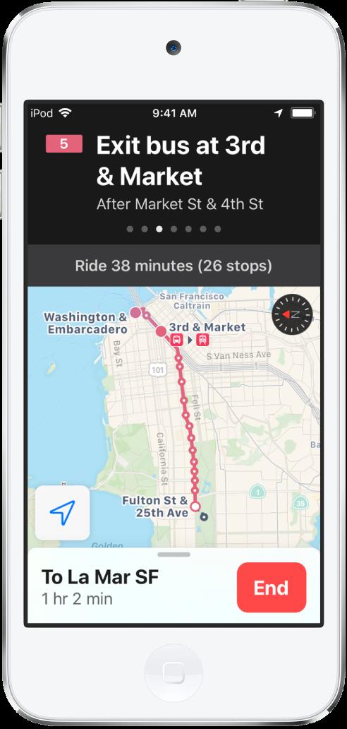 """Mapa de uma rota de transporte público em São Francisco. Um cartão de rota na parte superior da tela mostra a instrução """"Saia do ônibus em 3rd e Market""""."""
