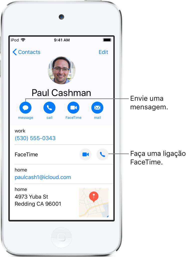 A tela de informações de um contato. Na parte superior encontra-se o nome e a foto do contato. Abaixo encontram-se os botões para enviar uma mensagem, fazer uma ligação telefônica, fazer uma ligação FaceTime e enviar uma mensagem de e-mail. Abaixo dos botões encontram-se as informações de contato.